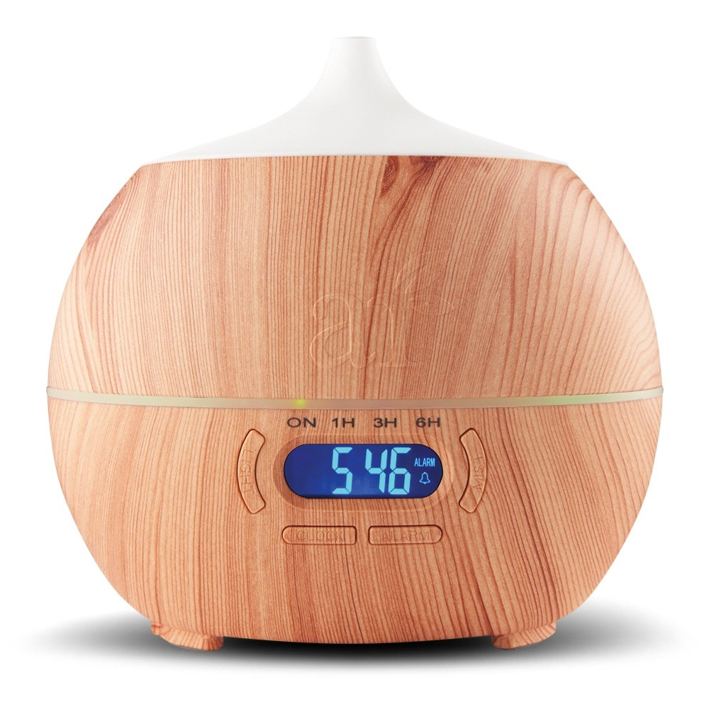 Ultrasonic Bluetooth Essential Oil Diffuser (400mL) 7 Color LED, Clock Purifier