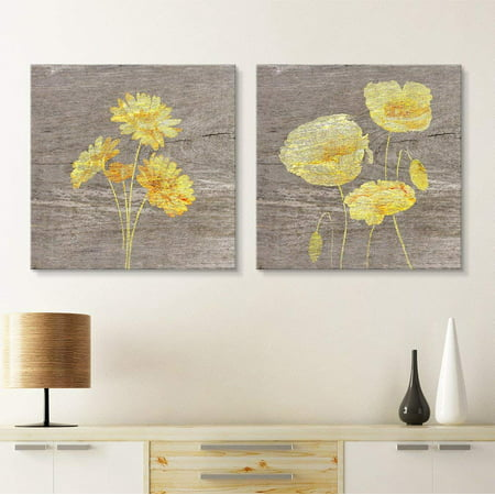 wall26 - 2 Panel Square Canvas Wall Art - Yellow Floral Wood Effect Canvas Set - Giclee Print Gallery Wrap Modern Home Decor Ready to Hang - 24