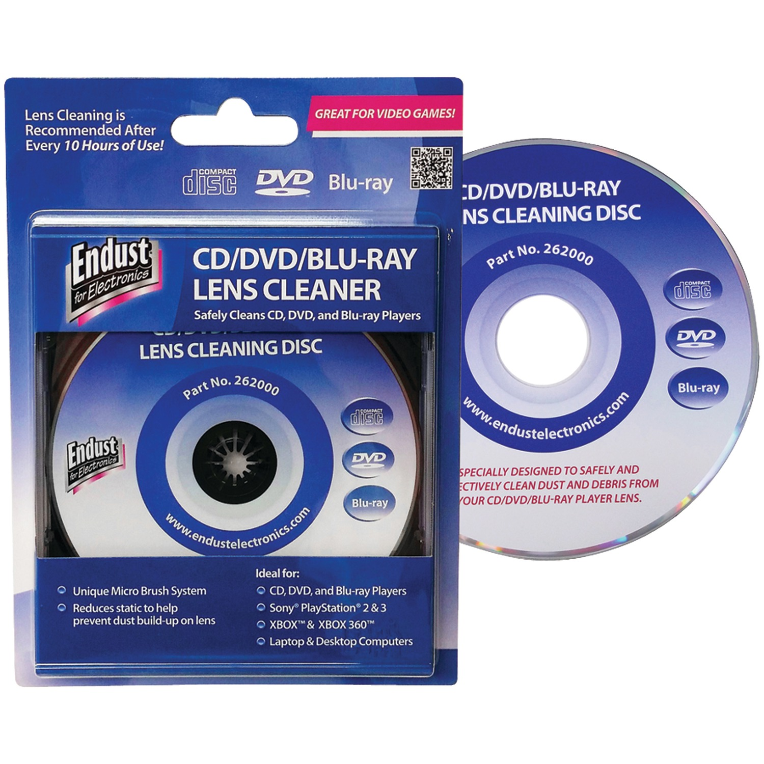 Endust For Electronics 262000 CD/DVD/Blu-ray/Game Console Lens Cleaner