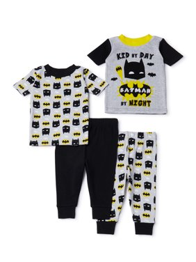 Batman Baby Toddler Boy Short Sleeve Snug Fit Cotton Pajamas, 4pc Set