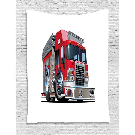 Truck Tapestry, Cartoon Style Red Fire Truck Emergency Services Safety of the City Transportation, Wall Hanging for Bedroom Living Room Dorm Decor, 40W X 60L Inches, Red Pale Grey, by Ambesonne