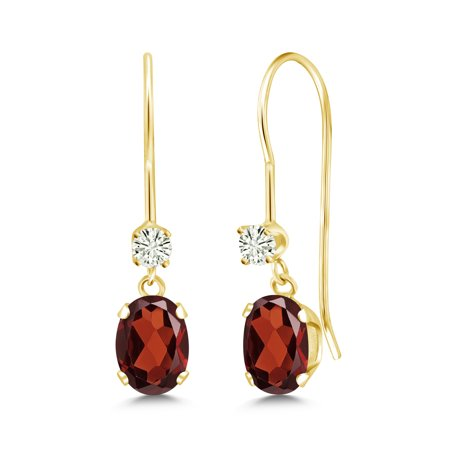 14K Yellow Gold Dangle Earrings Oval Red Garnet and Forever Classic Created Moissanite 0.12ct (DEW) by Charles & Colvard