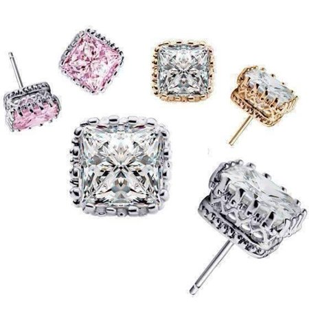 ON SALE - Royal Princess 6mm Cut Simulated White Or Pink Sapphire Stud Earrings Buy all 3 discounted - Pink Discount