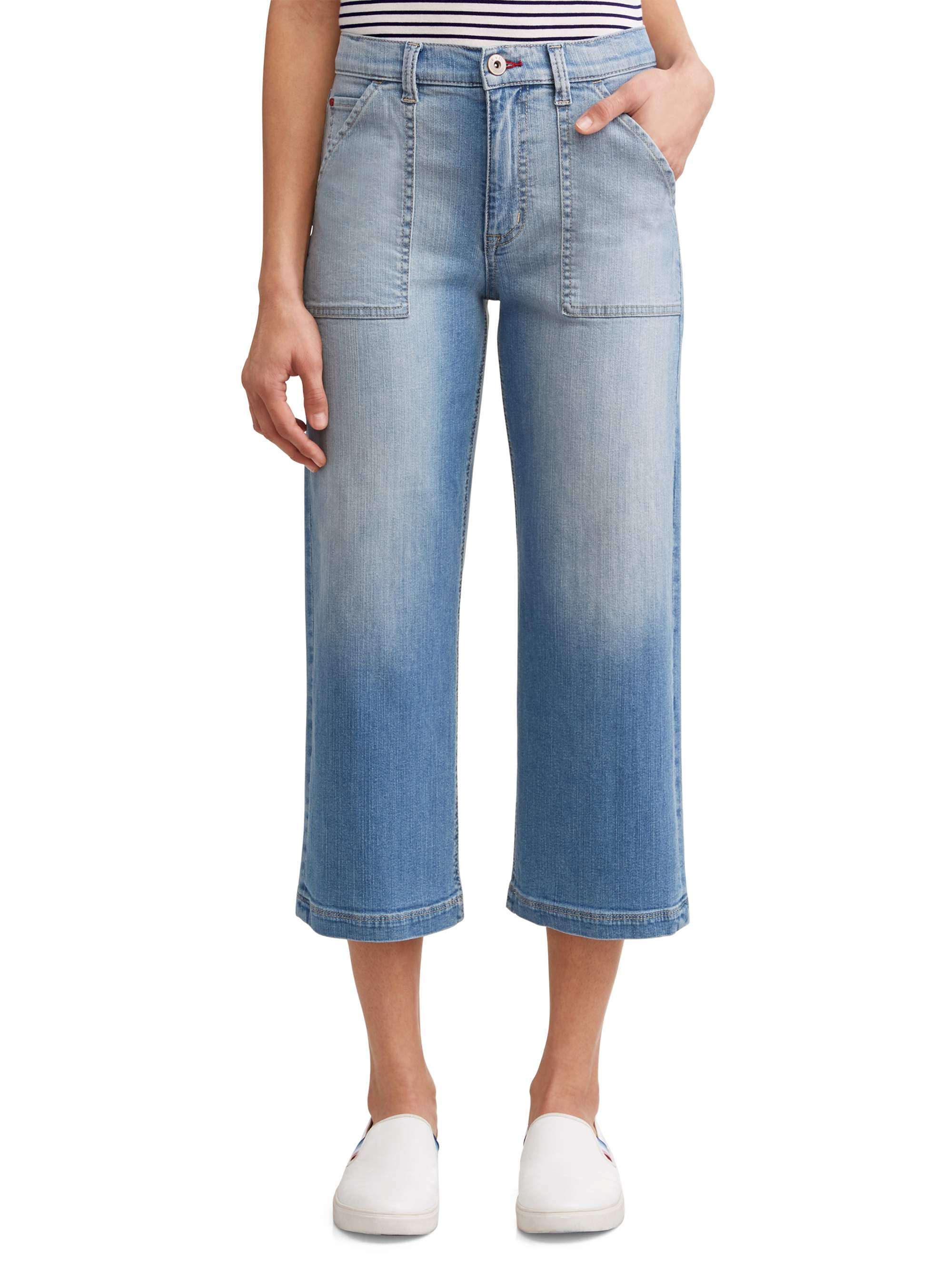 Allie Wide Leg Cropped Jean Women's (Light Wash)