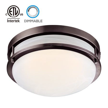 (TORCHSTAR LED Flush Mount Ceiling Light, Dimmable Ceiling Fixtures, Oil Rubbed Bronze, 12.5 Inch)