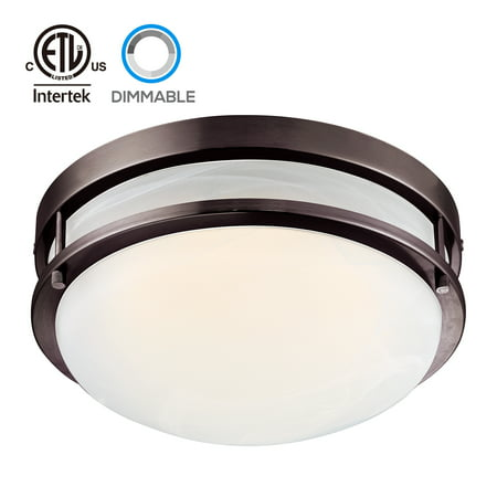 Hunter Oil Rubbed Lighting - TORCHSTAR LED Flush Mount Ceiling Light, Dimmable Ceiling Fixtures, Oil Rubbed Bronze, 12.5 Inch