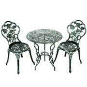 Topbuy Rose Design Bistro Set Antique Aluminum Bench Patio Garden Chair for Outdoor Green