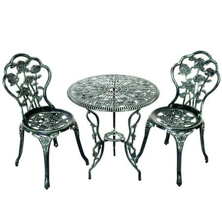 Topbuy Rose Design Bistro Set Antique Aluminum Bench Patio Garden Chair for Outdoor Green ()