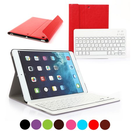 CoastaCloud Bluetooth Keyboard FOR NEW Apple iPad 2017/ipad air 1 Wireless Removeable Keyboard 9.7 inch with Stand Folio Case Cover Rechargeable USB Cable PU
