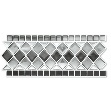 Incredible Collections Etc Tile Borders Peel And Stick Backsplash Removable Backsplash For Kitchen Bathroom Set Of 8 Black And White Home Interior And Landscaping Oversignezvosmurscom