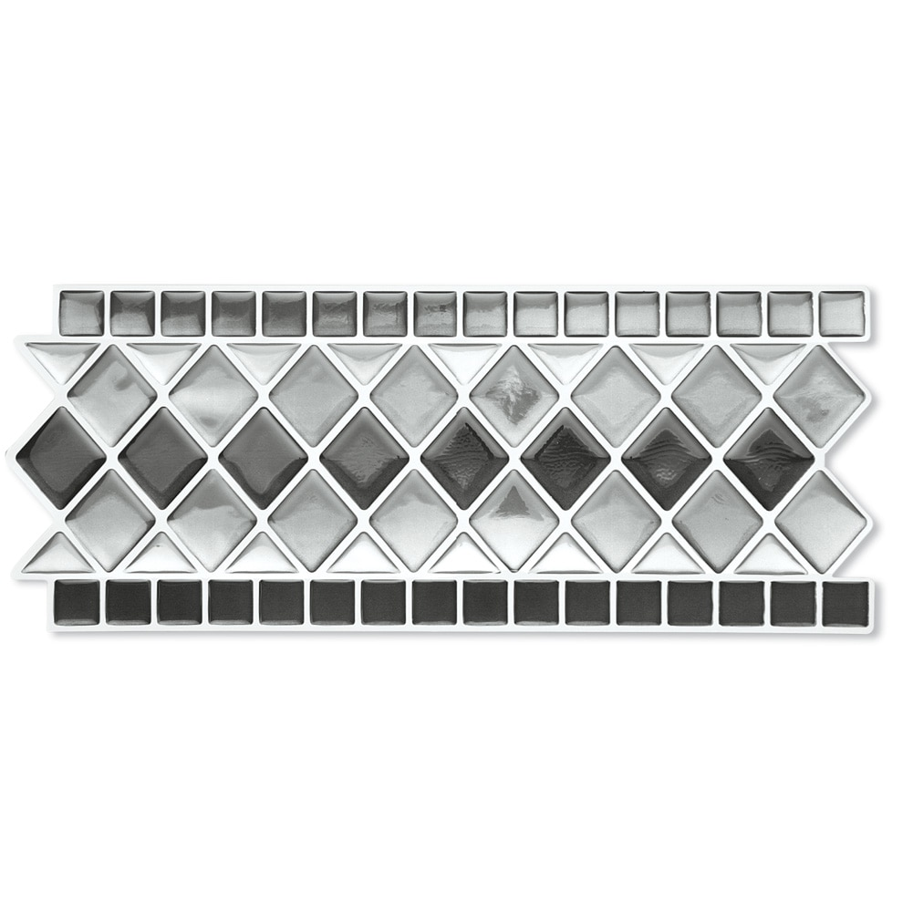 Peel & Stick Backsplash Kitchen Bathroom Wall Tile Borders - Set Of 4, Black And White