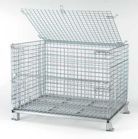 Nashville Wire 4000 lb Capacity, Collapsible Bulk Container, Silver C404830S4L