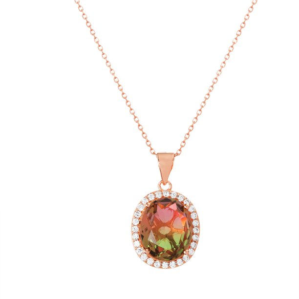 Cubic Zirconia and Watermelon Tourmaline Oval Center Halo Pendant Box Chain Necklace Set in Rose Gold over Sterling Silver