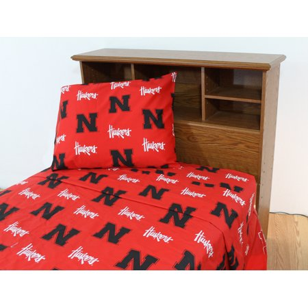 Nebraska Cornhuskers 100% cotton, 4 piece sheet set - flat sheet, fitted sheet, 2 pillow cases, Queen, Team Colors