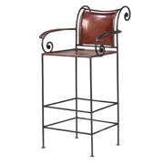William Shepee Iron/Leather Counter Carver Stool