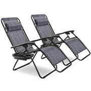 Topbuy 2PC Zero Gravity Chair Adjustable Recliners Textiliene Light Blue