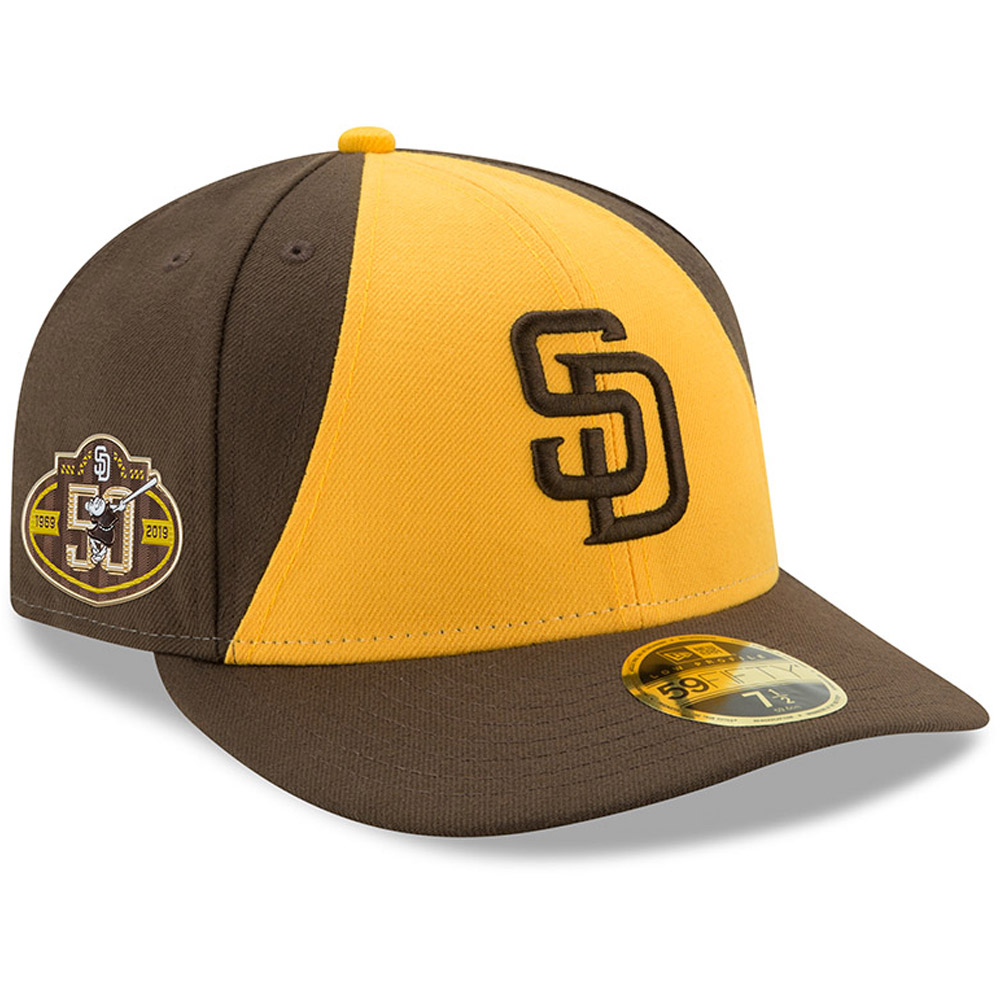 San Diego Padres New Era 50th Anniversary Authentic Collection On-Field Low Profile 59FIFTY Fitted Hat - Brown/Gold