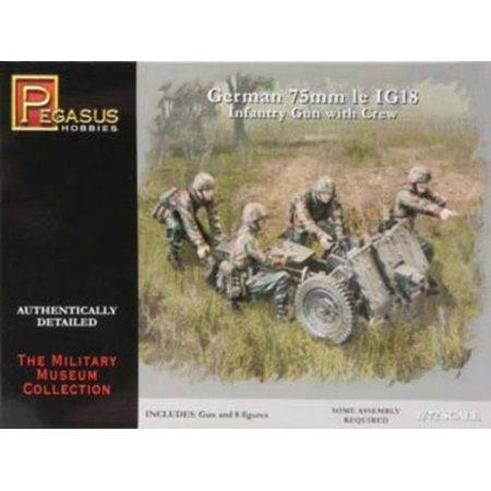 Pegasus 7510 WWII German 75mm le.IG. 18 Infantry Gun & Crew 1/72 Scale Model - Infantry Gun
