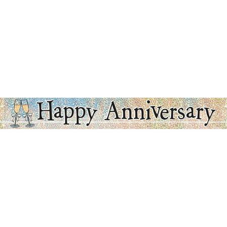 9ft happy anniversary prismatic foil banner walmart com