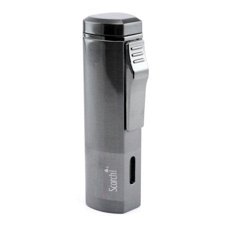 Scorch Torch Aficionado Easy Slide Switch Triple Jet Flame Butane Torch Cigarette Cigar Lighter w/Butane Window (Gunmetal) Gunmetal