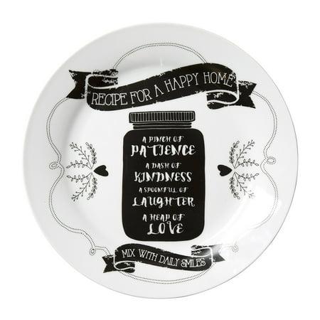 C.R. Gibson Porcelain Serving Plate, Great Family Keepsake, Dishwasher Safe, Plate Measures 11