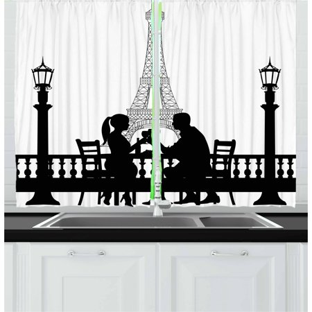 Na Front Panel - Romantic Curtains 2 Panels Set, Couple Having a Romantic Dinner in front of the Eiffel Tower Capital of Love, Window Drapes for Living Room Bedroom, 55W X 39L Inches, Black White, by Ambesonne