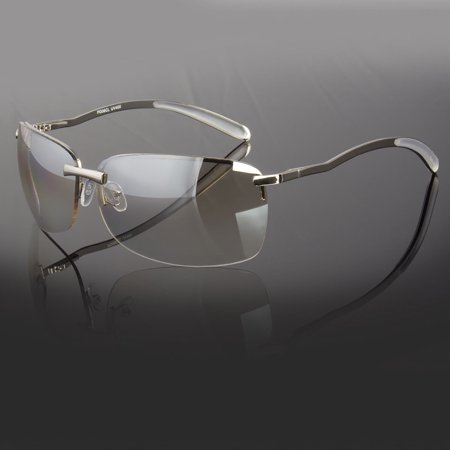 MENS RECTANGULAR RIMLESS DESIGNER SUNGLASSES SHADES EYEWEAR SILVER GOLD (Designer Rimless Eyewear)