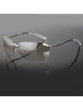 2175e80ced Product Image MENS RECTANGULAR RIMLESS DESIGNER SUNGLASSES SHADES EYEWEAR  SILVER GOLD COLOR