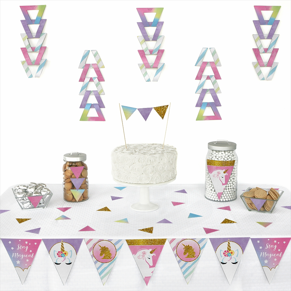 Rainbow Unicorn - Triangle Magical Unicorn Baby Shower or Birthday Party Decoration Kit - 72 Piece