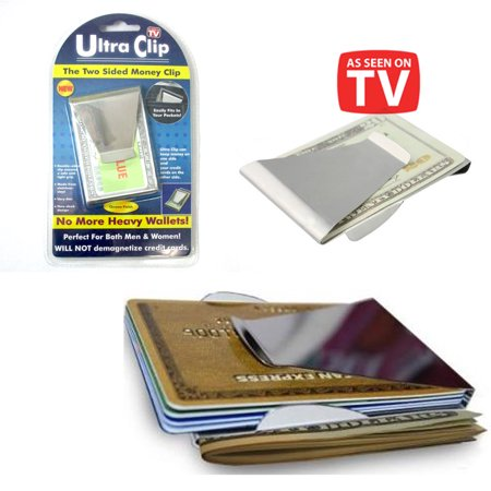 Ultra Slim Double Sided Money Clip Cash Credit Card Holder Wallet As Seen On Tv