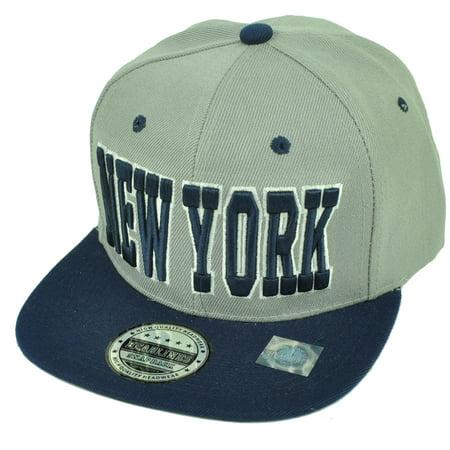 New York NYC City Empire State Gray Navy Blue Flat Bill Snapback Hat Cap USA NY