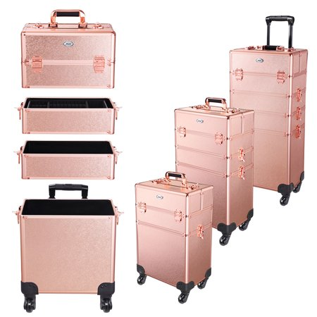 AW® 4 in 1 Aluminum Lockable Rolling Makeup Case on 4 Wheels Artist Trolley Cosmetic Train Box Organizer Rose