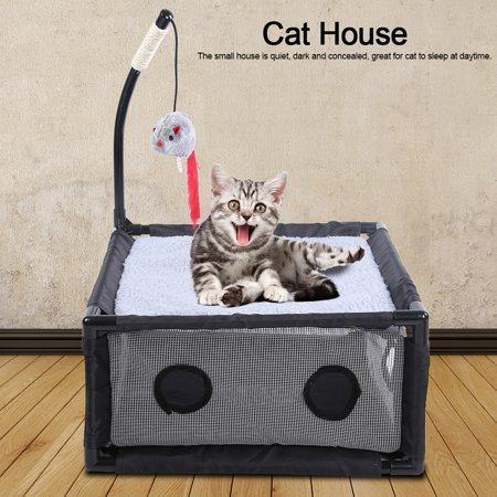 Anauto Cat Toy, Pet Cat Supply,Gray Mesh Small House Cat Bed Activity Game Center with Scratching Toy Pet Cats -