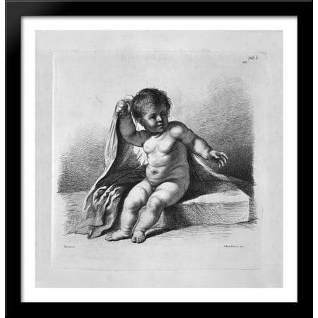 Cherub sitting in the act of covering 28x28 Large Black Wood Framed Print Art by Giovanni Battista (Grande Cherubs)