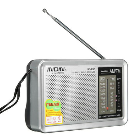 INDIN Portable Pocket HIFI Stereo Mini AM/FM Radio Receiver Bulit in Speaker Telescopic Antenna World Frequency W/ Outdoor Speaker Jack 3.5mm AUX Earphone Jack (Best Hi Fi In The World)
