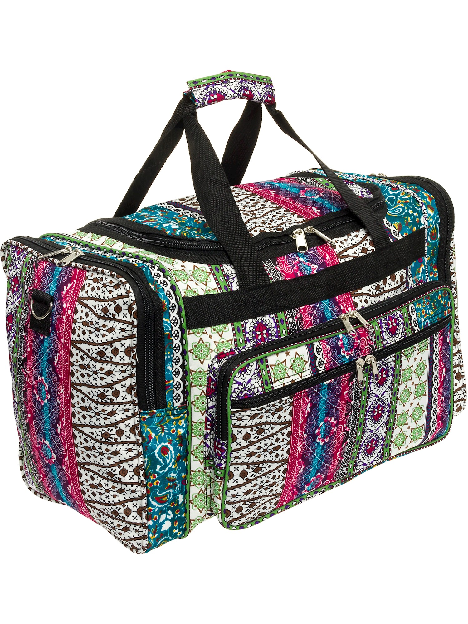 "Womens 19"" Boho Print Carry On Travel Tote Weekender Duffel Bag w/ Black Trim"