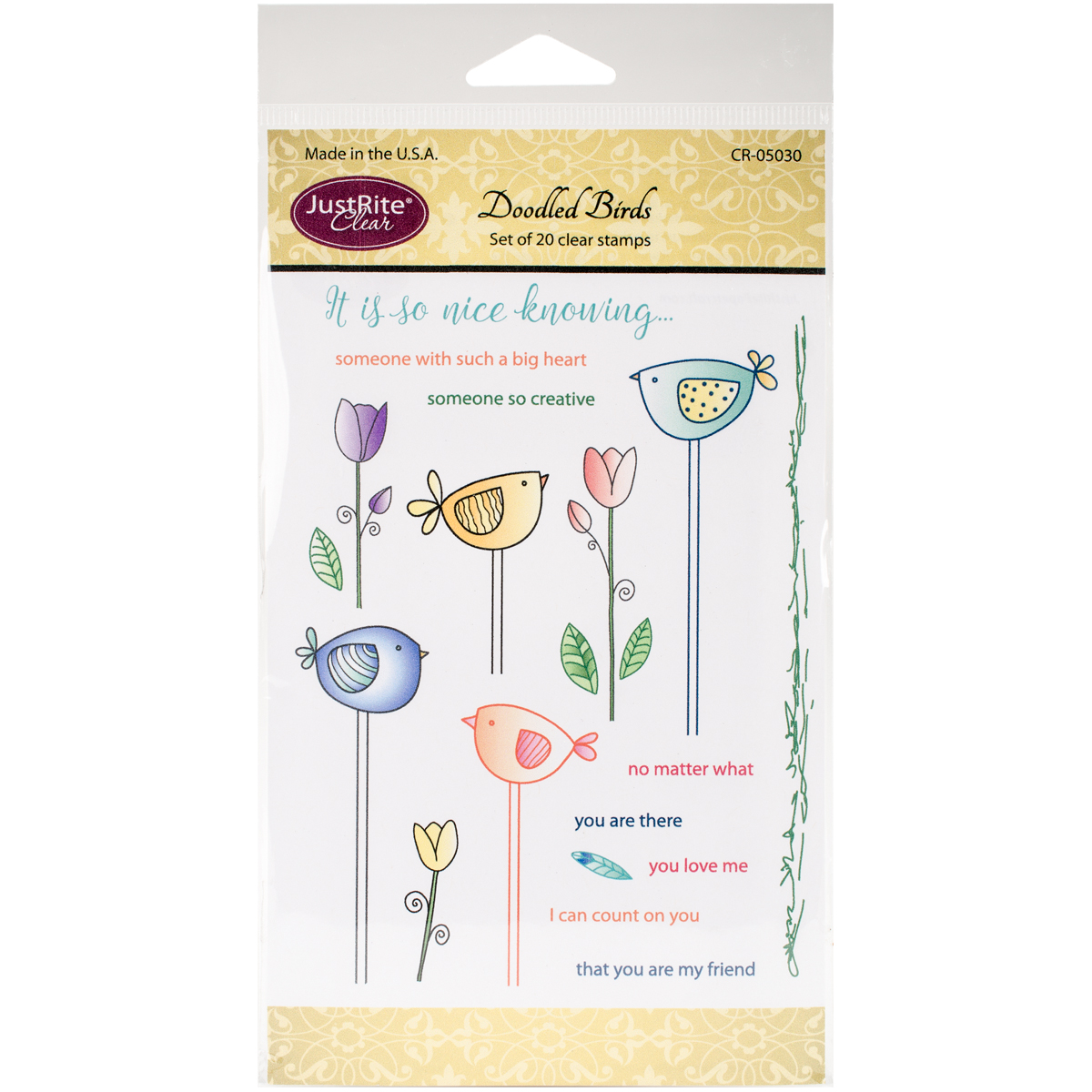 """JustRite Papercraft Clear Stamps, 4"""" x 6"""", Doodled Birds"""