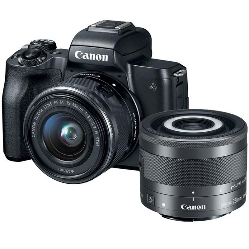 Canon EOS M50 Mirrorless 24.1MP Digital Camera Black with 15-45mm is STM Lens and 28mm Macro is STM Lens