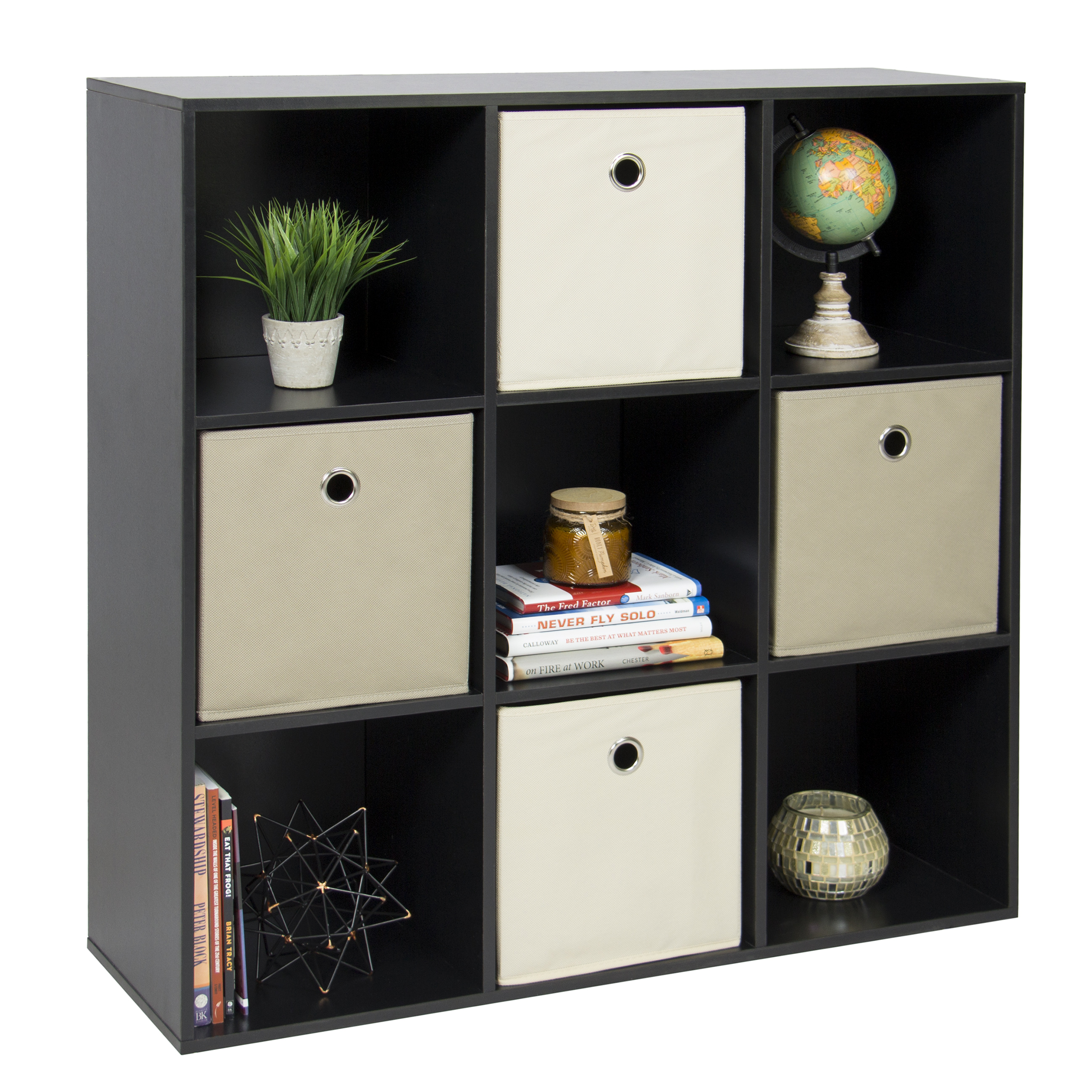 Best Choice Products 9-Cube Stackable Bookshelf Display Storage System Compartment Organizer w/ 3 Removable Back Panels - Black