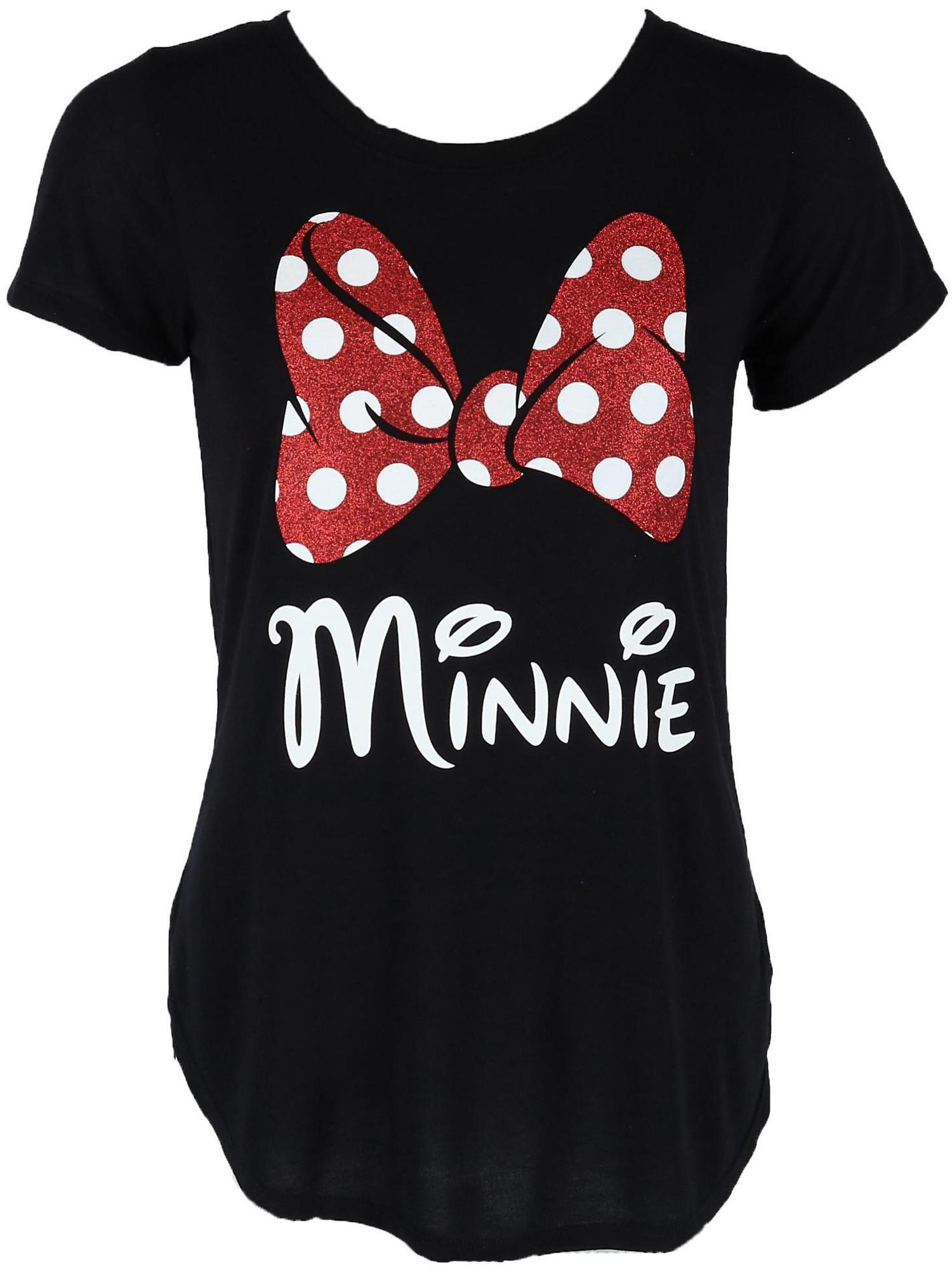 04c2cb275 Disney - Women's Fashion Glitter Minnie Mouse Bow T Shirt, Black -  Walmart.com