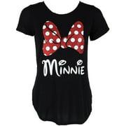 Women's Fashion Glitter Minnie Mouse Bow T Shirt,  Black