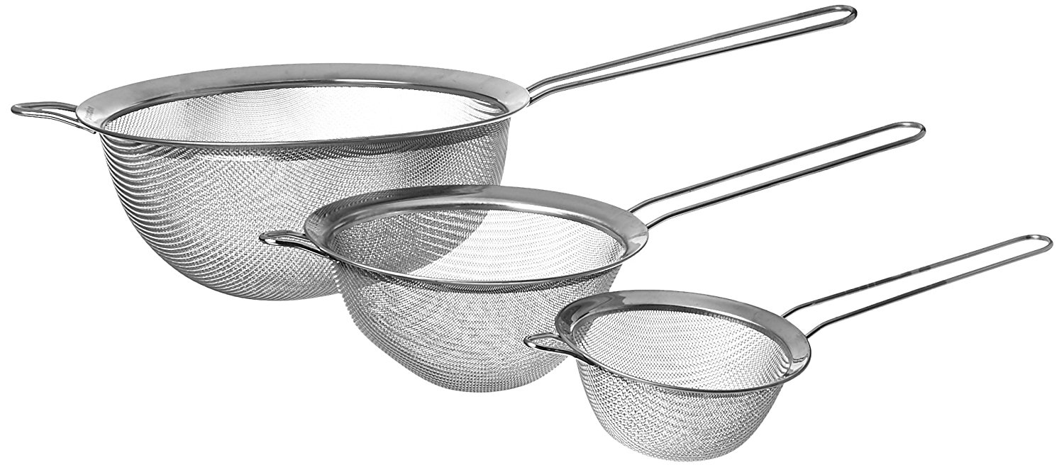 Stainless Steel Set of 3 Fine Mesh Strainer All Purpose Extra Deep Colander Sieve for Superior Baking and Cooking Preparation (3 Pack Deep) by Procizion