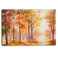 DESIGN ART Designart - Autumn Everywhere Forest - Landscape Canvas Artwork - Orange