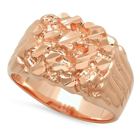 Rose Gold Plated Nugget Ring, Size 11 + Microfiber Jewelry Polishing Cloth - Gold Plated Nugget