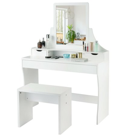 Gymax Vanity Wooden Makeup Dressing Table Stool Set W/Mirror &3 Drawers White