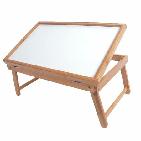 """Sponsored product!Laptop Desk, Bamboo Laptop Table Adjustable Lap Tray Bed Serving Tray Breakfast Table Foldable Coffee Tea Table 5 Tilting Top Angles Large Size 19.68"""" x 11.8"""""""