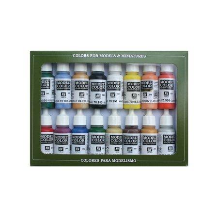 Vallejo Model Colour - Acrylicos Vallejo Basic Colors U.S.A. Model Color Paint Set, 1/2 Fl. Oz. Bottles, 16 Colors