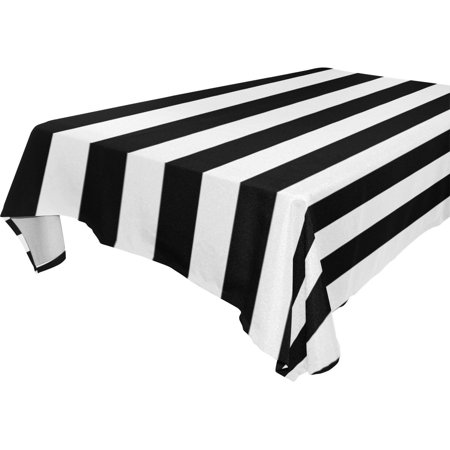 POPCreation Stripe Tablecloths Black White Table Top Decoration 60x104 inches