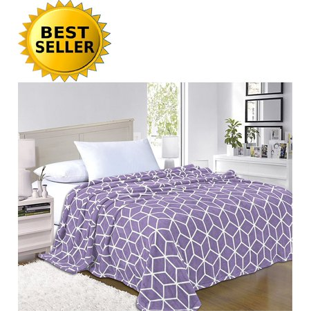 Elegant Comfort®- Luxury Micro-Fleece Ultra Plush Cube Pattern - All Season Blanket, Full/Queen, Lilac/Lavender - image 1 of 1