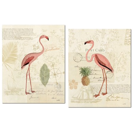 Tropical Florida Pink Flamingo and Pineapple Set by Katie Pertiet; Two 11x14in Poster Prints. Pink/Green/Tan